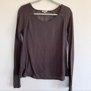 Lucky Brand Waffle Knit Crochet Thermal Top